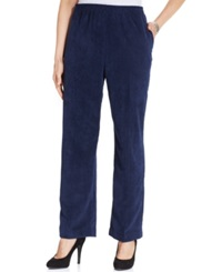 Alfred Dunner Petite Corduroy Straight Leg Pants Navy