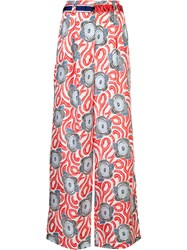 Michel Klein Abstract Print Palazzo Trousers Red