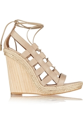 Aquazzura Amazon Leather Rope And Wood Wedge Sandals