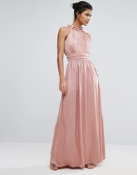 Little Mistress High Neck Satin Maxi Dress Rose Pink
