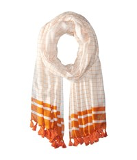 Michael Michael Kors Windowpane Printed Oblong With Tassels Orange Scarves