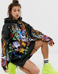 Jaded London Oversized Hoodie Dress With Flames And Skulls Print Black