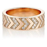 Ambre Victoria Women's Pave White Diamond Chevron Engraved Ring No Color