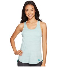 The North Face Motivation Stripe Tank Top Agate Green Heather Women's Sleeveless Blue