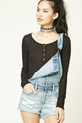 Forever 21 Marled Knit Henley Top