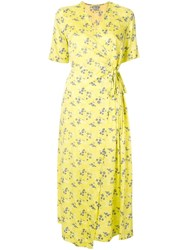 Baum Und Pferdgarten Floral Print Wrap Dress Yellow