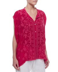 Johnny Was Cap Sleeve Embroidered Button Front Tunic Women's