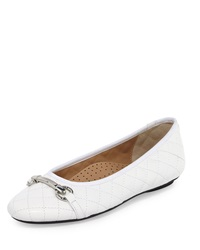 Neiman Marcus Suzy Quilted Leather Bit Strap Flat White