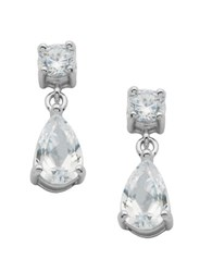 Lord And Taylor Platinum Plated Sterling Silver Cubic Zirconia Drop Earrings