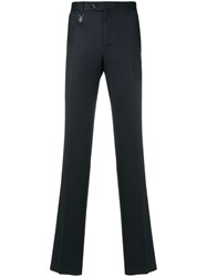 Billionaire Logo Charm Skinny Trousers Cotton Polyester Virgin Wool Blue
