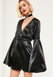 Missguided Black Silky Wrap Plunge Shift Dress