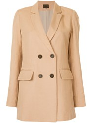 Aula Double Breasted Jacket Brown