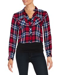 Beach Lunch Lounge Cropped Plaid Blouse Blue