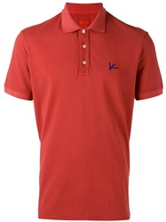 Isaia Classic Polo Shirt Men Cotton Xl Red