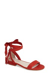 Kenneth Cole Women's New York Valen Tassel Lace Up Sandal Red Leather