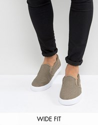 Asos Wide Fit Slip On Sneakers In Gray Faux Suede With Perforation Gray