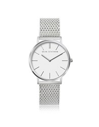 Sean Statham Stainless Steel Unisex Quartz Watch W White Dial Silver