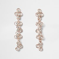 River Island Rose Gold Tone Rhinestone Flower Drop Earrings
