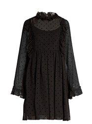 See By Chloe Polka Dot Flocked Georgette Dress Black