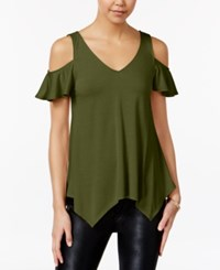 Almost Famous Juniors' Ruffle Sleeve Cold Shoulder Top Olive