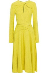 Prabal Gurung Twist Front Ruched Jacquard Midi Dress Bright Yellow