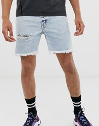 Cheap Monday Slim Shorts In Light Wash Blue