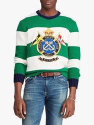 Ralph Lauren Polo Striped Logo Jumper Green White