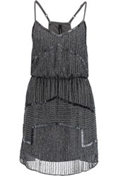 W118 By Walter Baker Destiny Bead Embellished Chiffon Mini Dress Anthracite