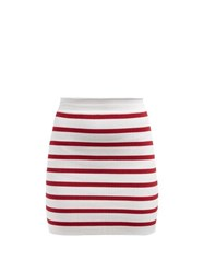 Balmain Striped Knitted Mini Skirt Red White
