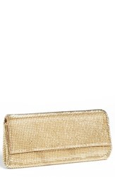 Whiting And Davis 'Pyramid' Mesh Clutch Metallic Gold