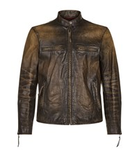 Polo Ralph Lauren Distressed Leather Racer Jacket Male Dark Brown