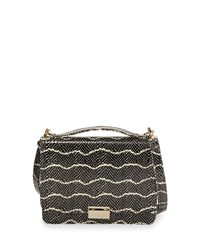 Taylor Snake Embossed Leather Crossbody Bag Black Cream Black Ivory Lauren Merkin