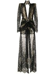 Alessandra Rich Long Sleeve Lace Gown Black