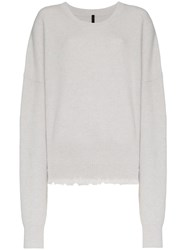 Unravel Project Long Sleeve Wool Blend Sweater Grey