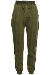 Haider Ackermann Woman Satin Trimmed French Cotton Terry Track Pants Army Green