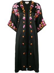 Temperley London Embroidered Open Front Coat Black