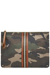 Valentino Camouflage Printed Pouch With Leather