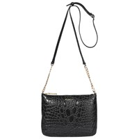 Modalu Twiggy Leather Across Body Bag Black Croc