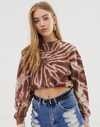 Pull And Bear Pullandbear Slogan Sweatshirt In Pink Tie Dye