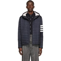 Thom Browne Navy Down 4 Bar Quilted Hooded Jacket
