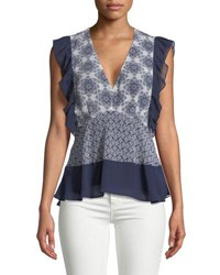 Ella Moss V Neck Fitted Ruffle Top Blue