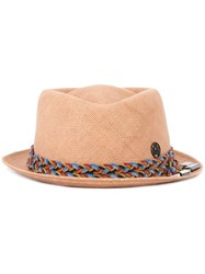 Maison Michel Braided Band Hat Nude Neutrals