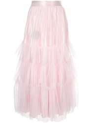 Huishan Zhang Tulle Tiered Maxi Skirt Pink