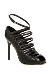 L.A.M.B. Bobbi Leather Strappy Sandal Pump Black