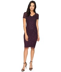 Adrianna Papell V Neck Short Sleeve Pegged Sheath With Pearl Beads Midnight Plum Women's Dress Brown