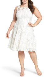 Gabby Skye Plus Size Women's Lace Fit And Flare Dress Ivory