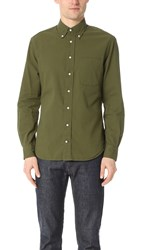 Gitman Brothers Vintage Long Sleeve Olive Over Dye Seersucker Shirt