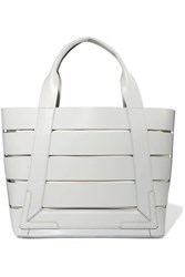 8 Lena Cutout Leather And Canvas Tote Light Gray