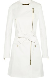 Just Cavalli Leather Paneled Stretch Cotton Coat