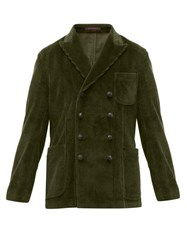The Gigi Double Breasted Cotton Blend Corduroy Blazer Dark Green